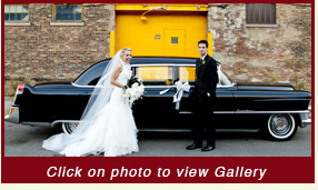 1955 black Cadillac Convertible limousine wedding car rentals