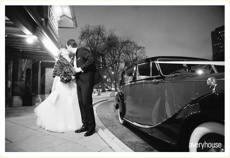 Post Reception 1948 red and black Rolls Silver Wraith rental car downtown Chicago width=