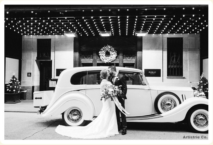 Luxury 1937 white Rolls Wraith photo with bride and groom showing front of Rolls