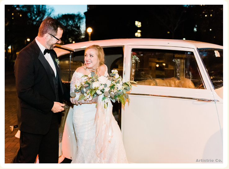 Exterior View Of Bride With Her Exotic 1936 White Rolls
