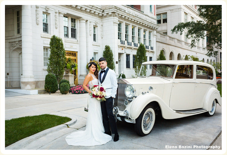 Luxury 1936 white Rolls Wraith photo with bride and groom showing exterior side view of Rolls Royce, downtown Chicago