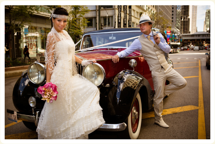 Photo Gallery Of Bride And Groom In A Classic Wedding Car