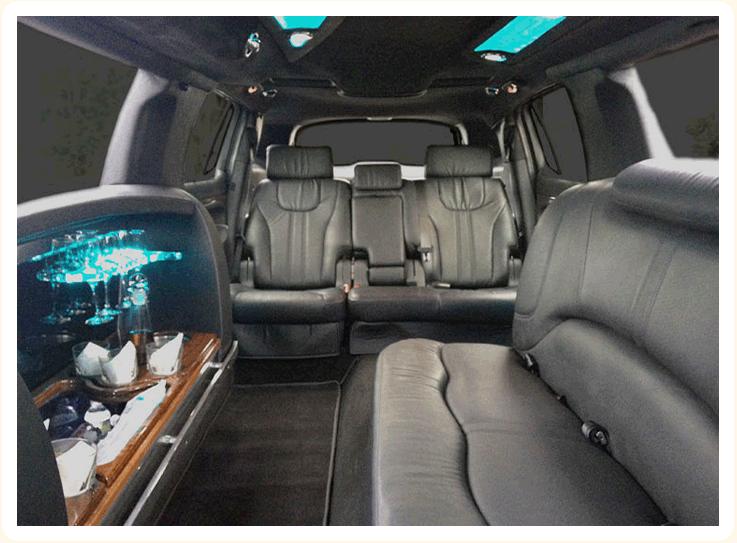 interior view of limousine rental vehicle 8 passenger mkt weddings and special occasion rental. Black Bedroom Furniture Sets. Home Design Ideas
