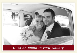 Magda and Luis in the white Bentley wedding rental vehicle