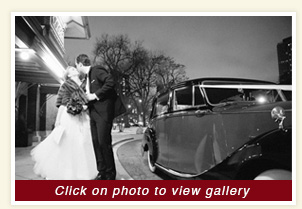 exterior view of post reception 1948 red and black Rolls Royce rental wedding car