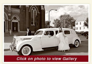 interior view of 1939 Packard Limousine white rental wedding car